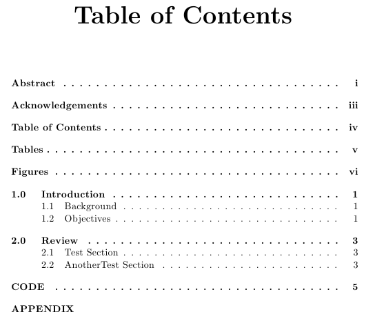 latex table of content manual page number