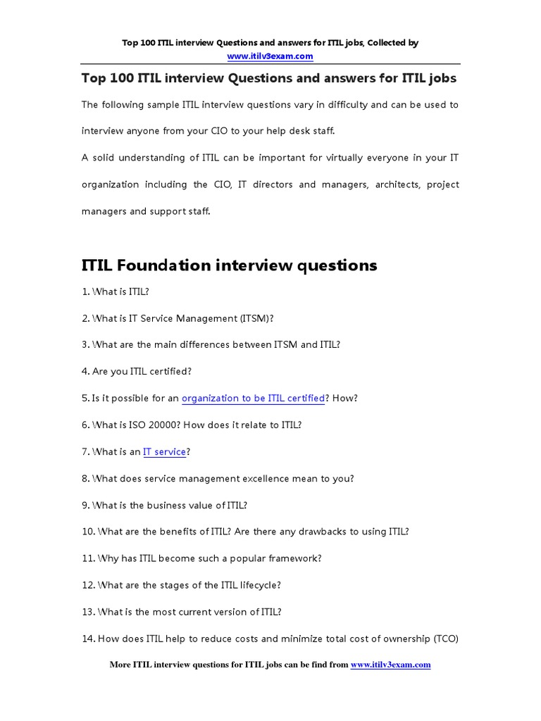 itil interview questions and answers pdf free download