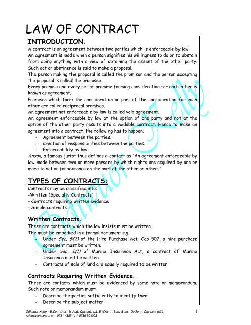 law of contract pdf